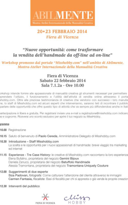 Workshop MissHobby presso fiera Abilmente di Vicenza 2014